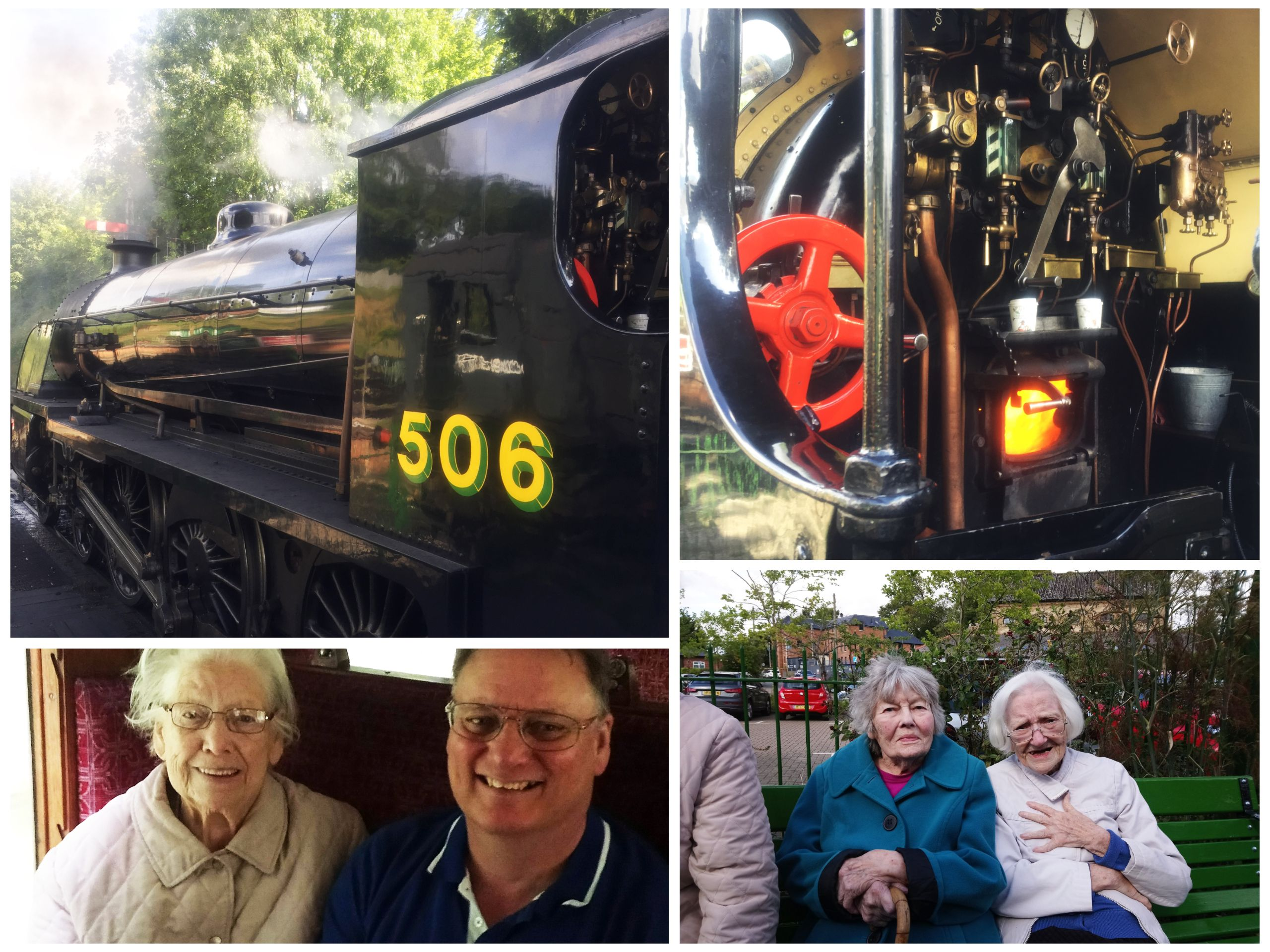 Old Raven House Care Home residents enjoy a ride on a steam train.