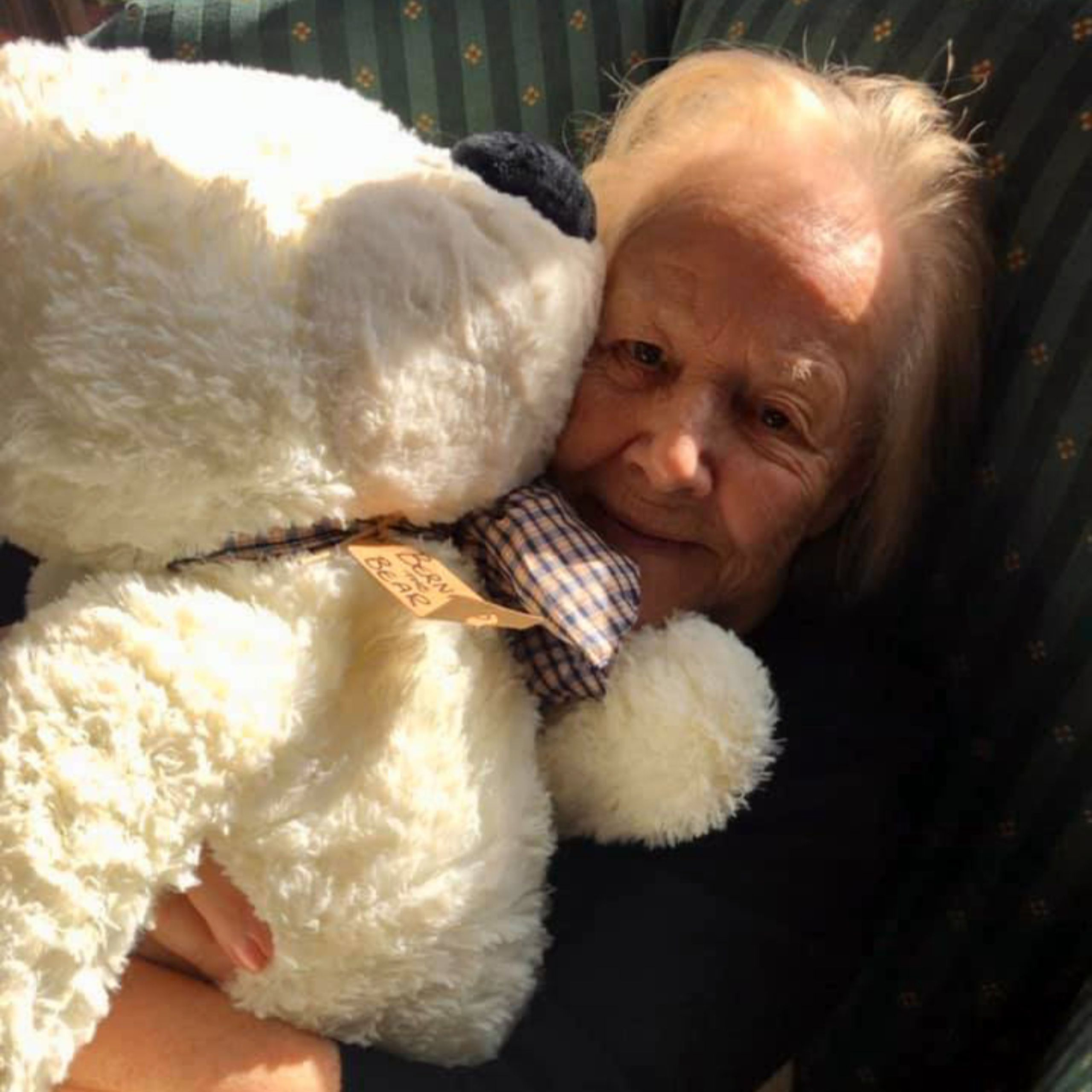 A resident of Old Raven House Care Home in Hampshire cuddles a giant teddy bear for National Hug a Bear Day.